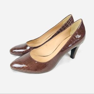 NEW! Nurture brown patent leather comfort heels